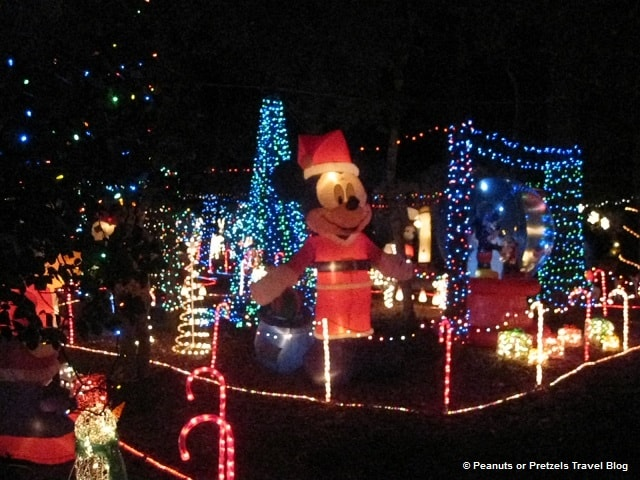 This is a decorated campsite for Christmas at Disney's Fort Wilderness Resort. One of many to explore at night!