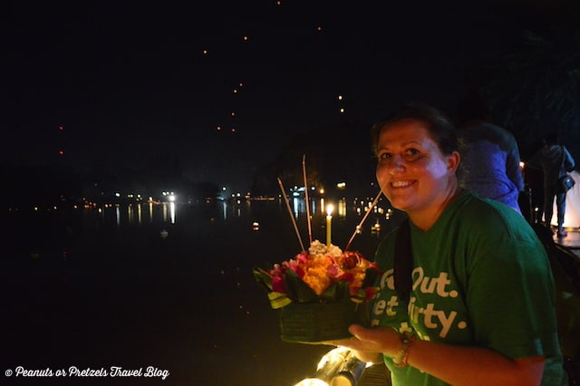 Liz and her Krathong - Peanuts or Pretzels