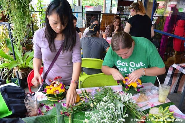 Letting our creativity loose - making our Krathongs for the festival in Chiang Mai, Thailand