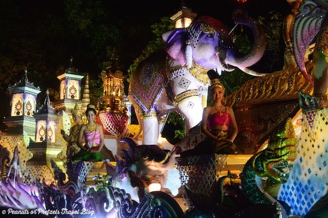 Beautiful parade floats and costumes during the Loy Krathong Festival in Thailand.