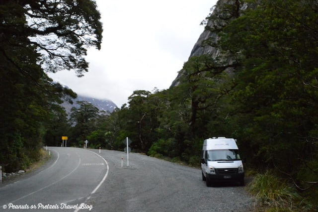 Parking on the side of the road - New Zealand RV Rental - Peanuts or Pretzels