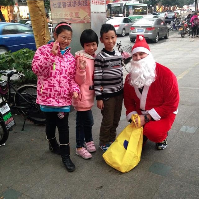 Playing Santa in Guangzhou, China - Peanuts or Pretzels Instagram