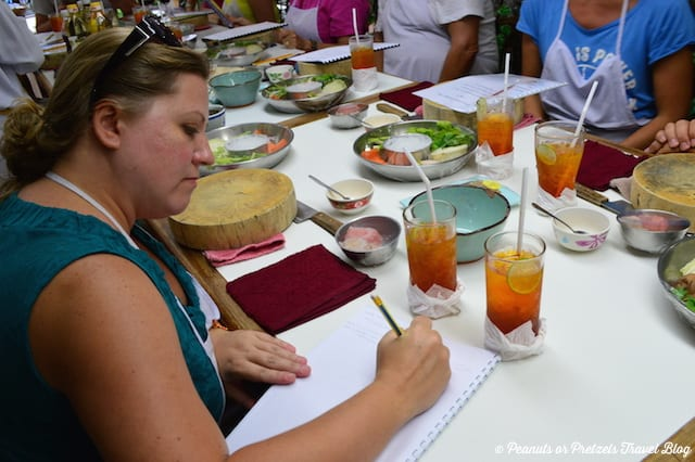 Taking notes at Thai Cooking Class - Peanuts or Pretzels, learning to cook thai food, thai cooking school, koh samui thailand
