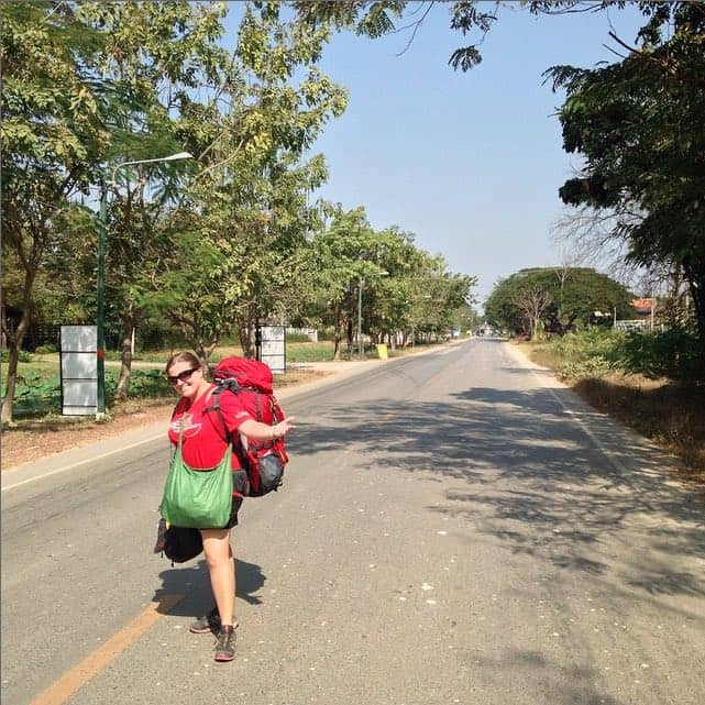 Walking to bus station in SUkhothai, Thailand - Peanuts or Pretzels Instagram
