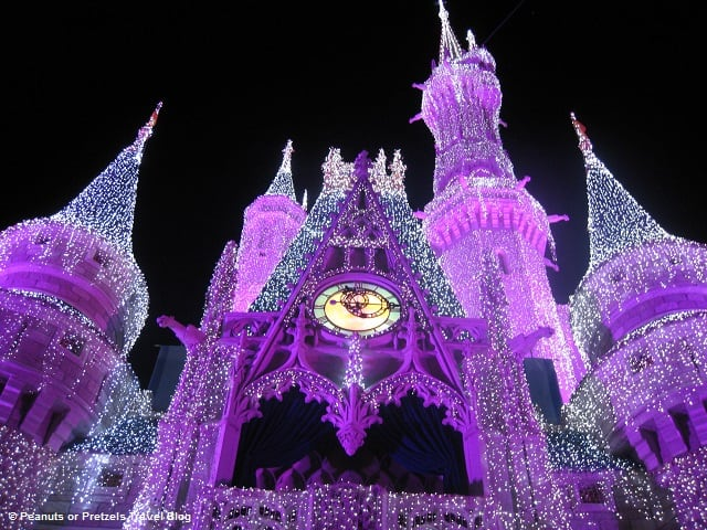 Cinderella's Castle is covered with thousands of lights that change color - to look like sparkling ice!