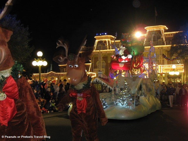 Reindeer dance in the Disney Christmas parade and bring Santa down Main Street!