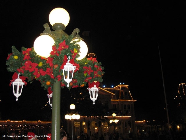 Christmas decorations fill the parks and resorts over the holiday season.