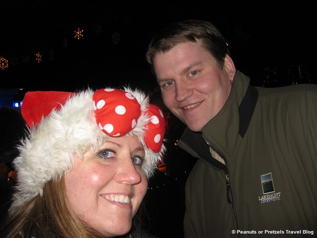 Spending Christmas at Disney World - and sporting my Minnie-ear Santa hat (which Josh is not so much a fan of).