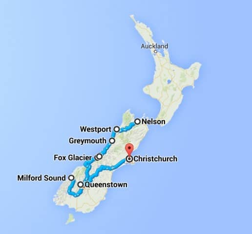 Our driving route in New Zealand
