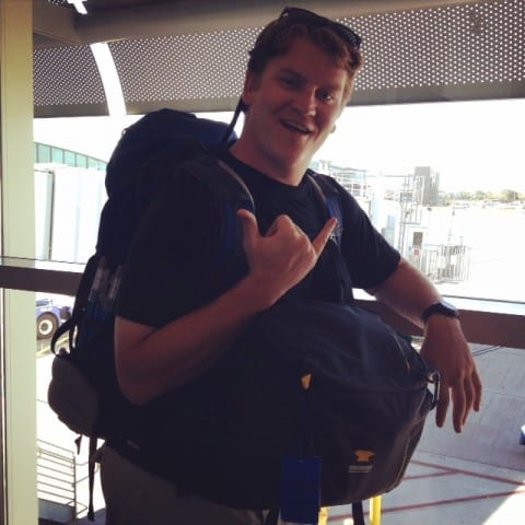 josh and his carry on bags, overnight flight, red eye flight tips, tips for a long flight
