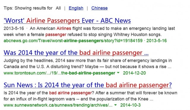 web search airline passenger