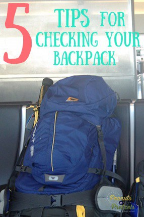checking a travel backpack for airplane - bag straps secure and sitting on chair pin