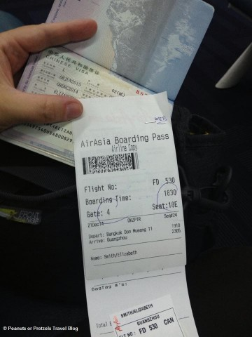 My Chinese Visa along with my boarding pass -- ensuring they will let me in when I arrive!