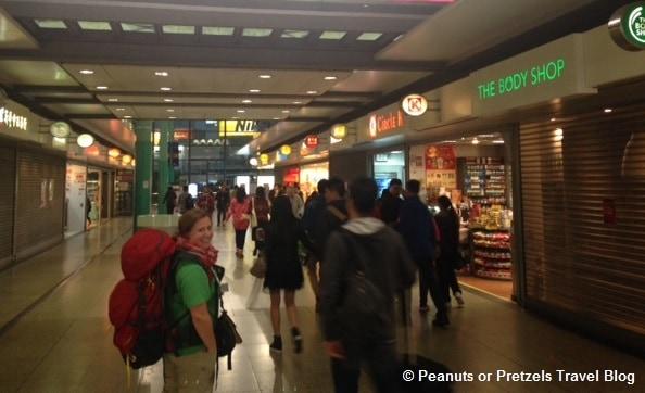 Walking through the train station in Hong Kong