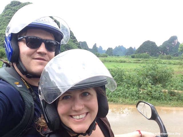 Riding the bike in Yangshuo