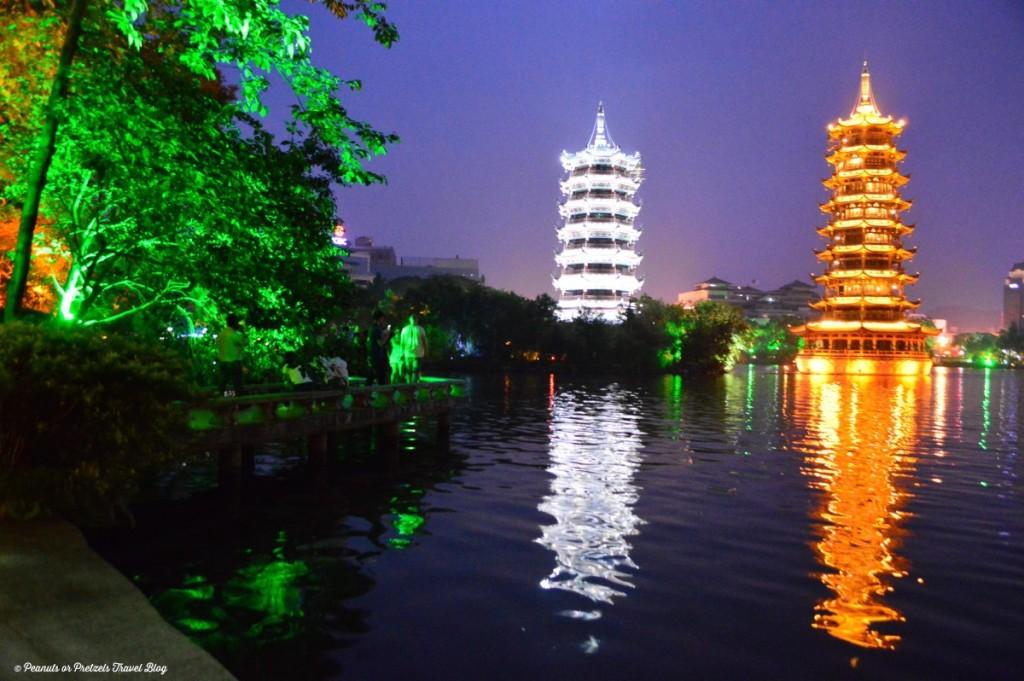 Sun Moon Pagoda - Guilin, China