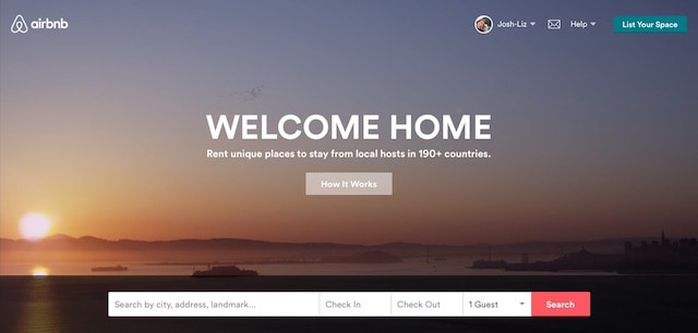 airbnb home page 1