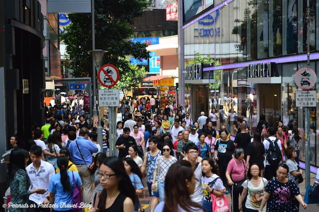 A busy weekend of shoppers in the Causeway Bay shopping district of Hong Kong.