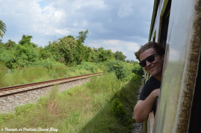 Josh Riding the Train in Thailand, trip to thailand, trains in thailand