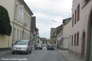 driving through narrow roads of old german villages during a road trip