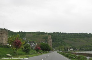 view of old castles next to rhine river in germany during our road trip