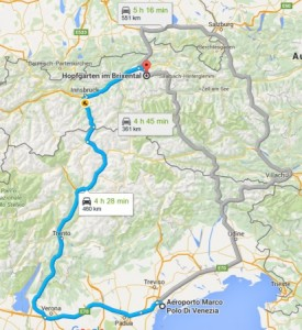map of our road trip drive with our rental car from austria into italy