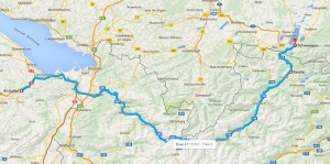 map of our road trip in Austria