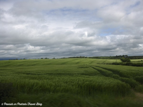 The beautiful Irish countryside out the car window