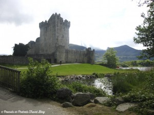 view of famous Ross castle along lake near killarney ireland during our road trip