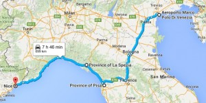 our road trip route map driving from florence to pisa then up coast toward france in rental car