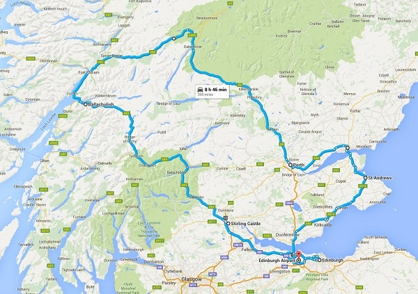 our road trip map of our drive around scotland with our rental car