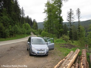our parked rental car when driving around Germany black forest