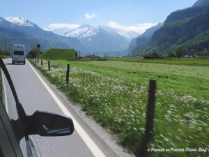 view from the rental car passenger window driving in switzerland into the alps mountains and flowered fields