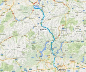 road trip map of driving to Switzerland from Italy