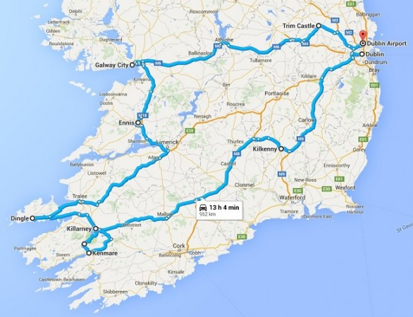 road trip route map of ireland that we took with our rental car