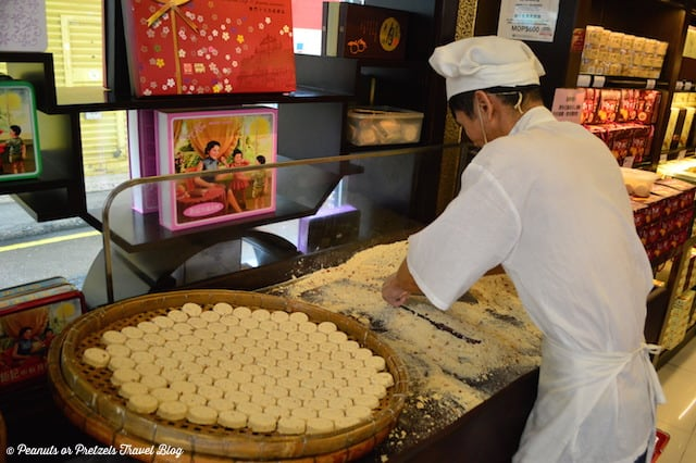 Freshly made almond cookies in the bakeries of Macau