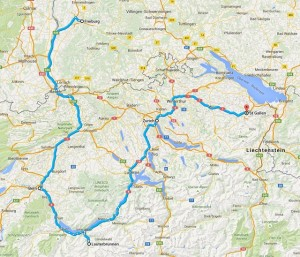 road trip map of route driving around switzerland with our rental car