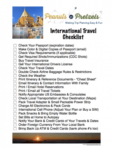 print out this PDF international travel checklist before your trip departure