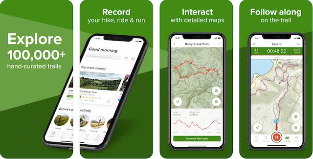 All Trails app, road trip app, geocaching road trip apps,