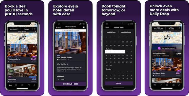 hotels tonight app, road trip app