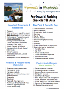 Southeast Asia Packing List page 1