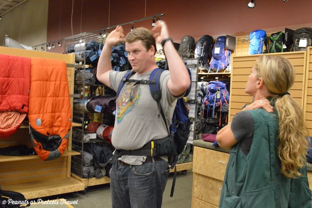 sizing and fitting a backpack, REI backpack fitting, Mountainsmith backpack,