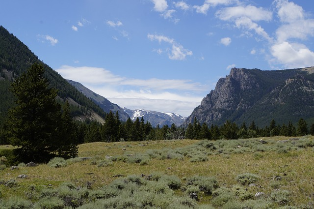 view of the mountains near Red Lodge Montana along the Beartooth highway