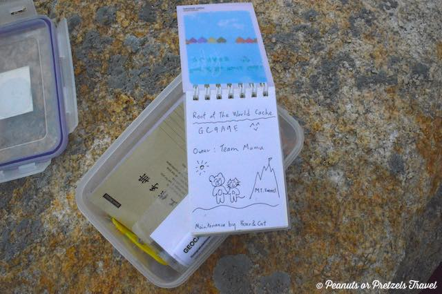 Roof of the World Geocache logbook