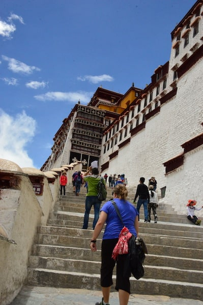 Walking up to the Potala Palace & trying to catch my breath at this altitude!