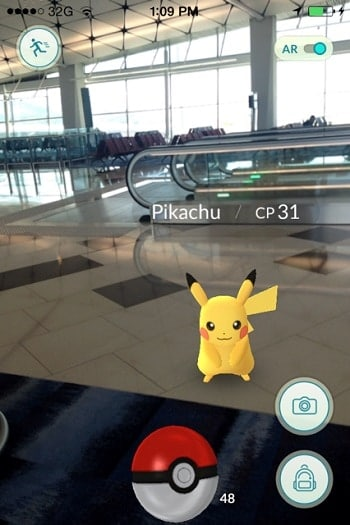 I almost missed my flight because I was trying to catch Pikachu in an airport!