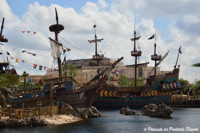 Pirate ships in the cove at Shanghai Disney