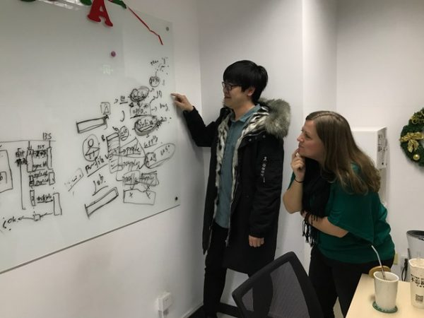 Liz working with IT in Beijing - big things coming in 2017!