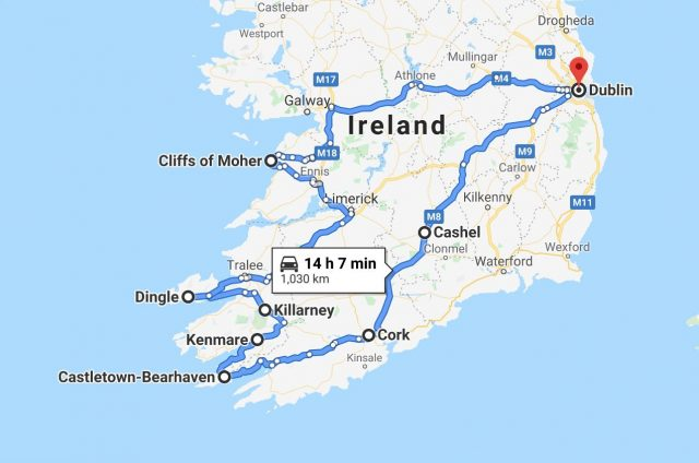 map of 7 day ireland itinerary