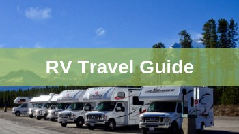 picture of a group of RVs in a line with a caption RV travel Guide text over the image with green stripe behind white text